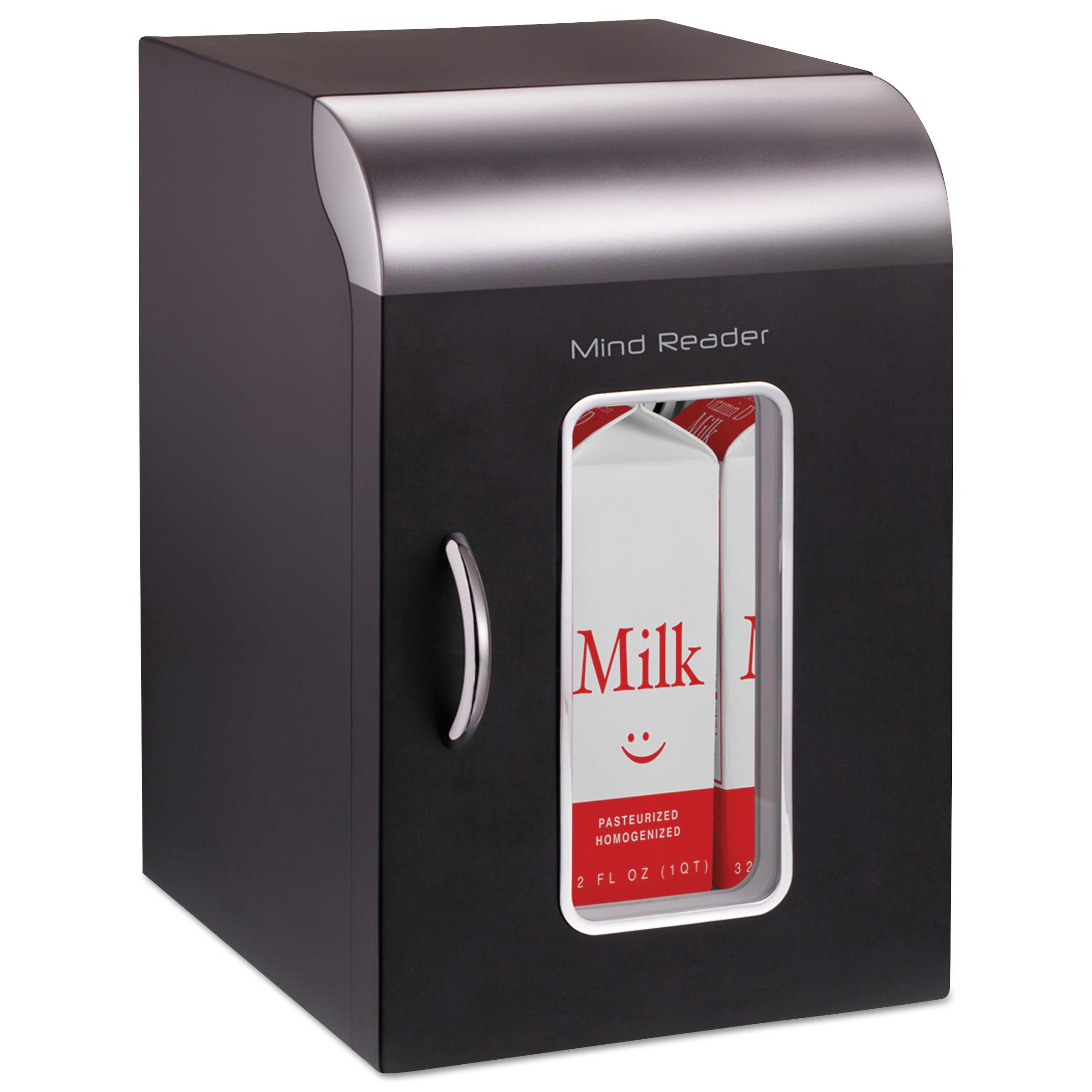 Mind Reader Cube Mini Coffee Station Refrigerator, 0.21 Cu. Ft, Black w/Chrome