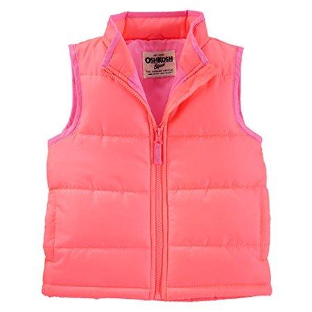OshKosh B'gosh Girls' Puffer Vests- Coral - Pink Lining (10) (Oshkosh Vest)