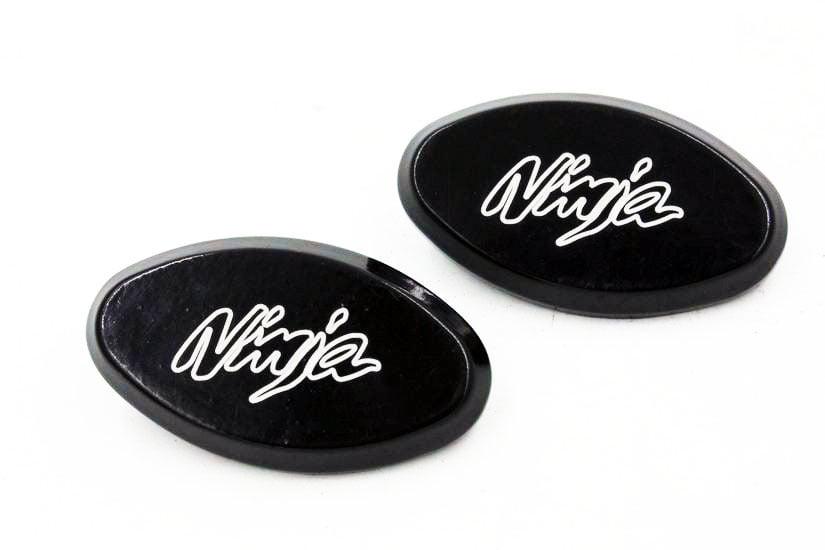 Mirror Block Off Base Plates Logo Engraved Black For 2004-2010 Kawasaki Ninja ZX10R