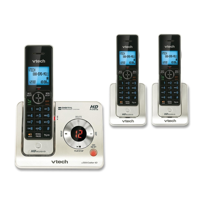 VTech LS6425-3 DECT 6.0 Expandable Cordless Phone with Answering System and Caller ID/Call Waiting, Silver with 2 Handsets - Cordless - 1 x Phone Line - 3 x Handset - Speakerphone - Answering Machine