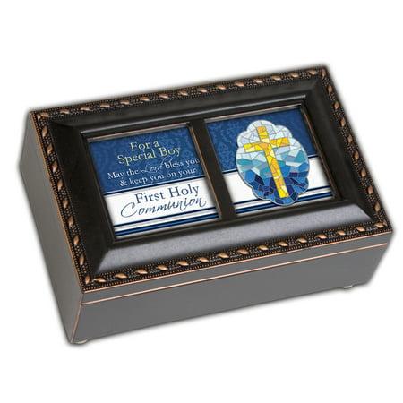 "6"" Black and Blue Communion Boy Petite Music Locket Box"