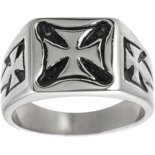 Daxx Men's Pattee Cross Ring in Stainless Steel