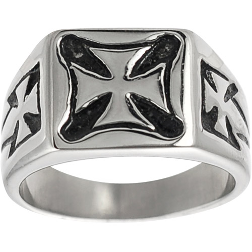 Daxx Men's Pattee Cross Ring in Stainless Steel