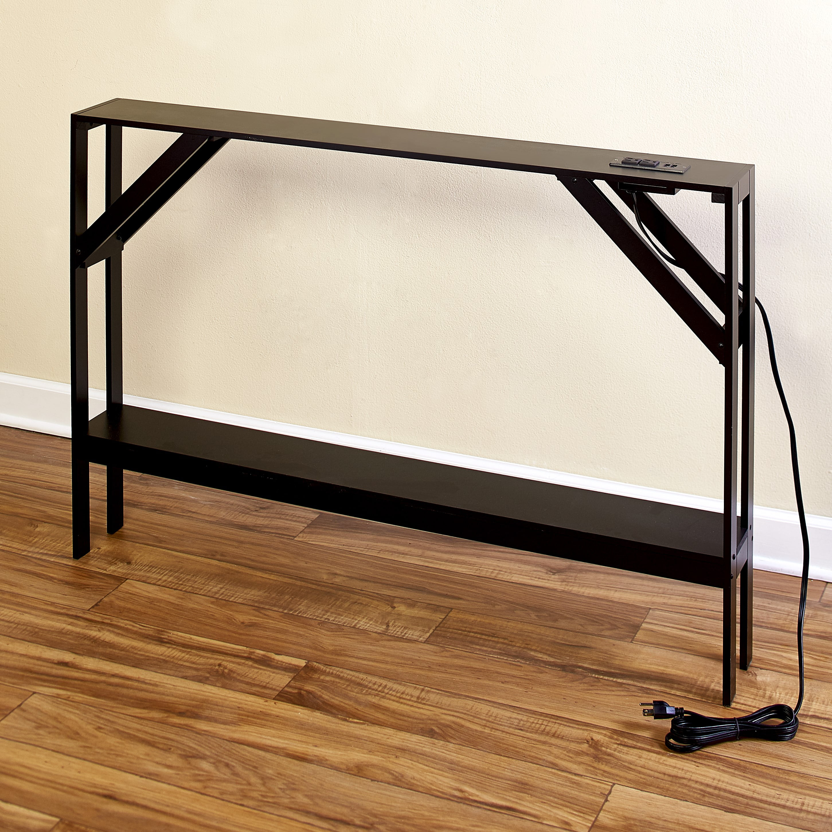 Skinny Sofa Table With Outlet For Phones And Laptops Modern Accent Table Walmart Com Walmart Com
