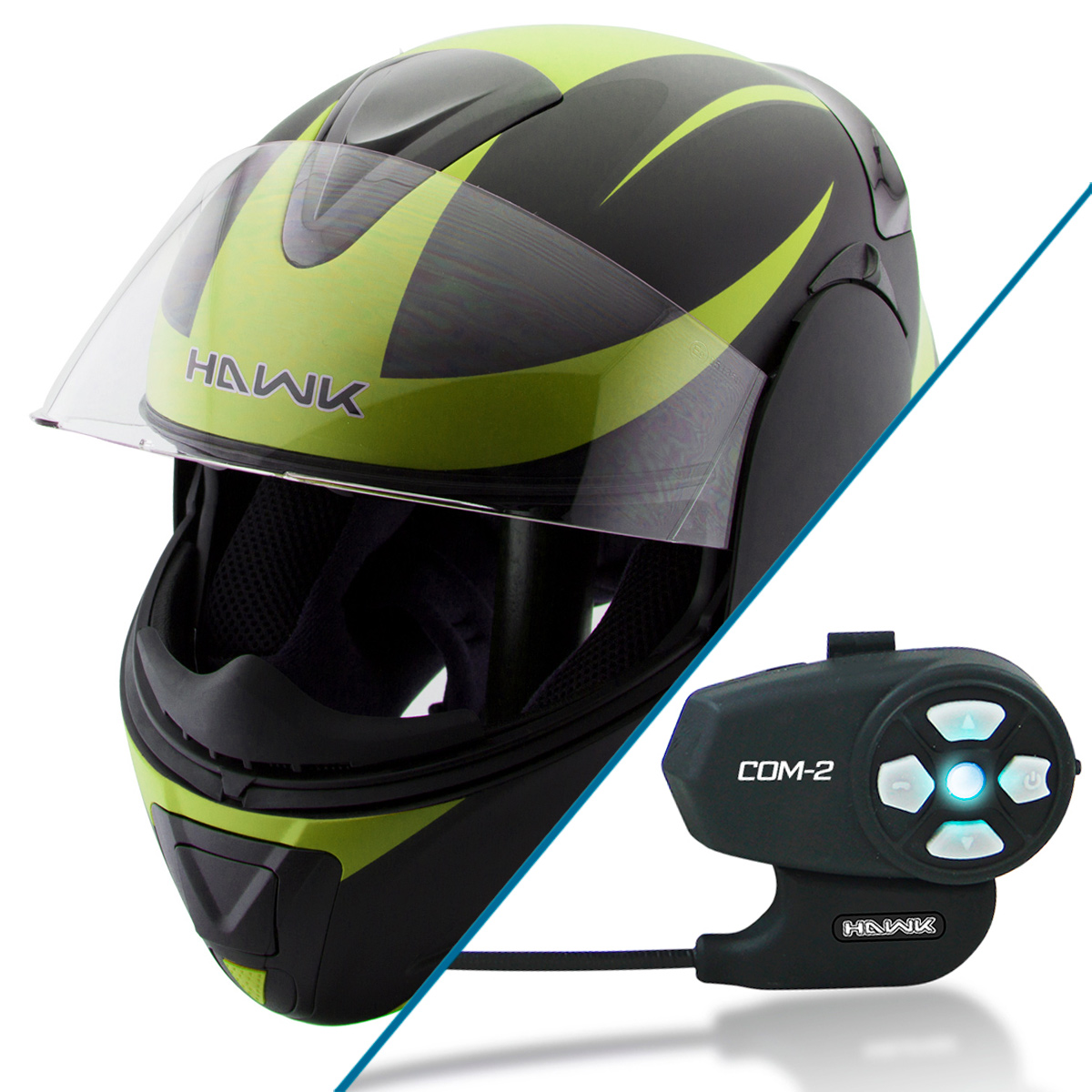Hawk H-66 Raptor Neon Green Modular Motorcycle Helmet with Hawk COM-2 Bluetooth