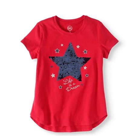 661bd49a Wonder Nation - Girls' Reversible Sequin Graphic Tee Shirt - Walmart.com