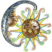 Global Crafts 24-inch Painted Blue Moon and Sun Metal Wall Art  , Handmade in Haiti