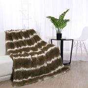 "Reversible Lightweight Soft Faux Fur Throw Blanket with Fleece Reverse for Couch and Sofa,Brown 50"" x 60"""