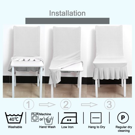 Brilliant Stretchy Spandex Ruffled Skirt Short Dining Room Chair Covers Washable Removable Seats Protector Slipcovers White Download Free Architecture Designs Scobabritishbridgeorg