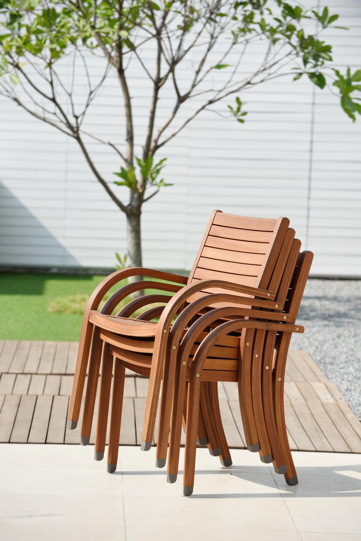 Amazonia carolina eucalyptus wood outdoor chairs set of 4 walmart com