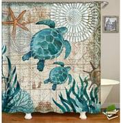 """Happyline""Sea Turtle Shower Curtain, Ocean Blue Teal Sea Turtle Beach Shower Curtain Funny Fabric Shower Curtains Set for Bathroom Boho Waterproof Bath Curtain Spring Bathroom Decor 72""X72"""