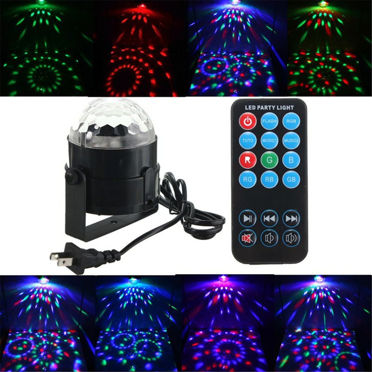 KingSo Disco Ball Party Light 3W RGB Strobe Crystal Light Stage Bulb With Remote for Outdoor Xmas Wedding Home DJ... by