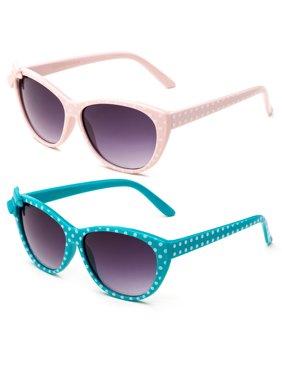 Newbee Fashion - Kids Girls Cute Bow Fashion Sunglasses One Piece Shield Lense (4-12 Years) UV Protection