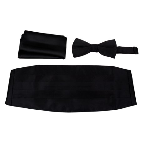 (Mens Formal Woven Satin Cummerbund Pre-Tied Bowtie Hanky set - Many Solid Colors Available)