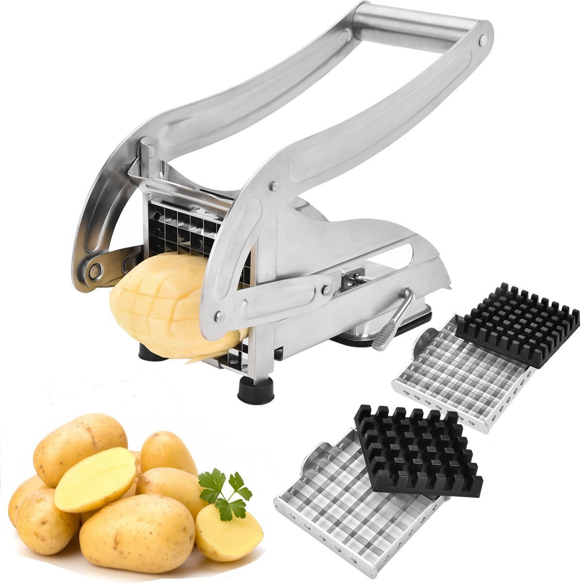 Coolmade French Fry Cutter, Stainless Steel Potato Slicer Veggies Chopper and Dicer Potato Fries Maker with 2 Size Interchangeable Blades and Strong-Hold Suction Pads