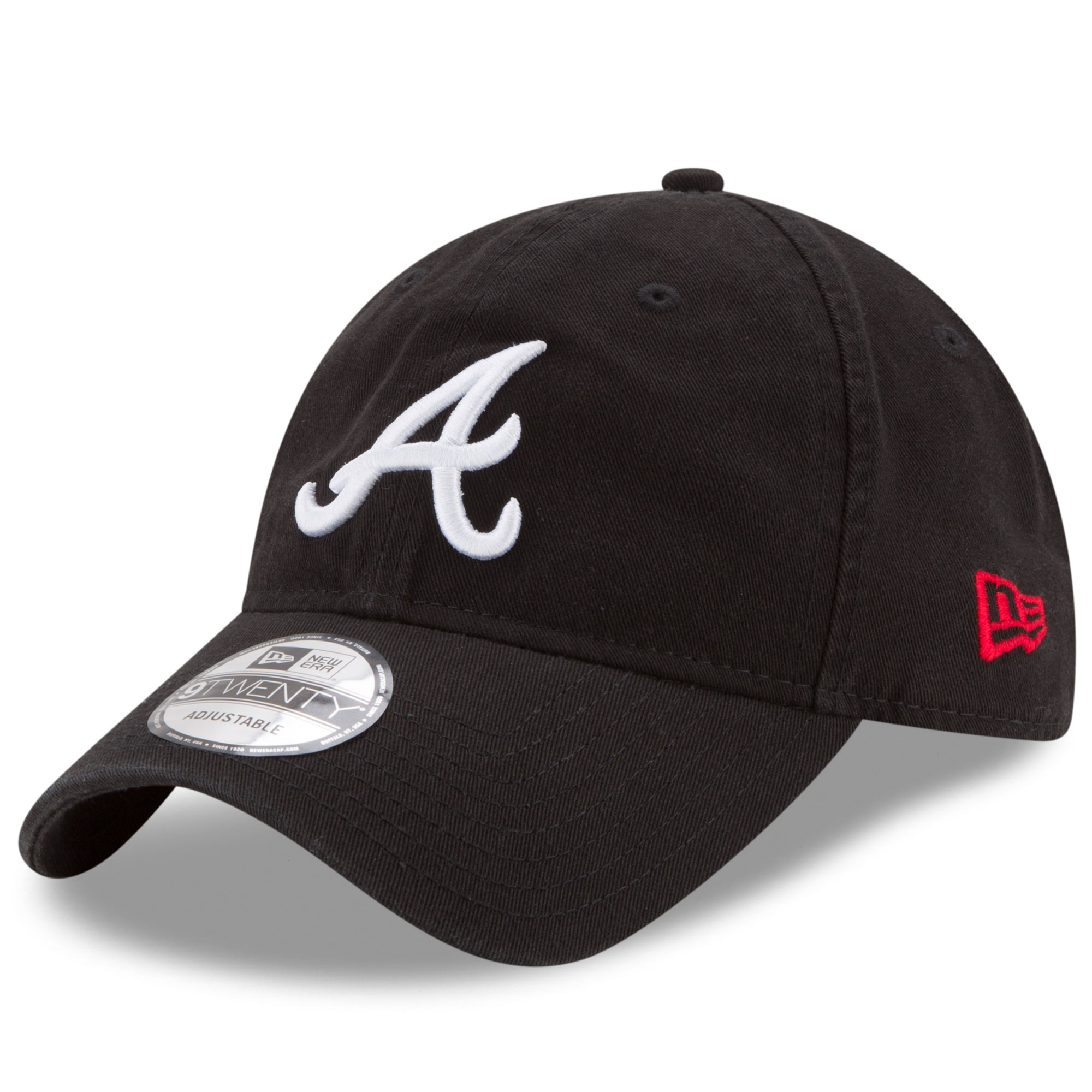 Atlanta Braves New Era Core Classic 9TWENTY Adjustable Hat - Black - OSFA