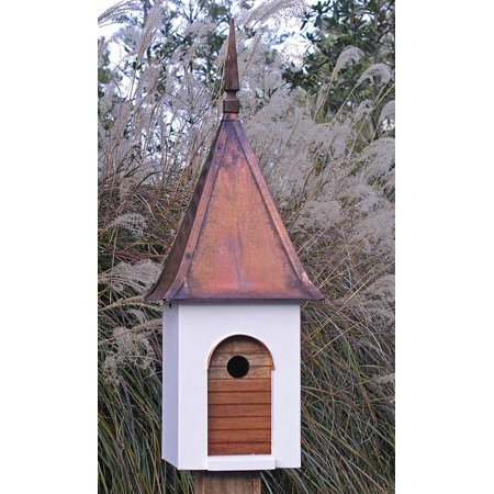 French Villa Bird House W White Brown Copper Roof