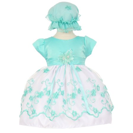 Baby Girls Mint Floral Embroidery Overlay Special Occasion Bonnet Dress 18M