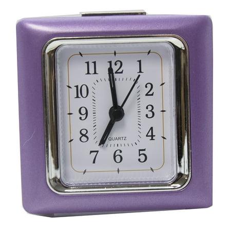 Square Quartz Alarm Clock - Purple Swiss Quartz Alarm