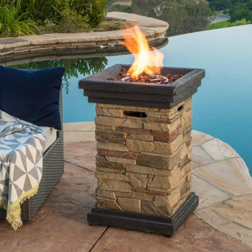 Christopher Knight Home Chesney Outdoor 19-inch Column Propane Firepit with Lava Rocks by Overstock