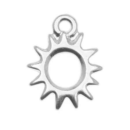 Rhodium Plated Charm - Rhodium Plated Pewter Radiant Sun Charm 14.2mm (1)