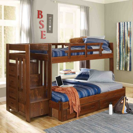Woodcrest Heartland Twin Over Full Reversible Stair Bunk Bed