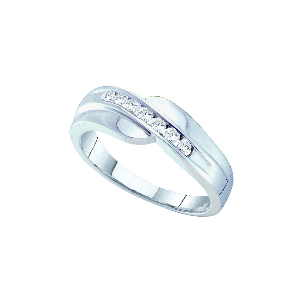 14kt White Gold Mens Round Channel-set Diamond Curved Wed...