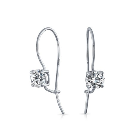 Prom Bridal Drop Solitaire Round Cubic Zirconia French Wire Threader Earrings For Women 925 Sterling (Promo Drop)