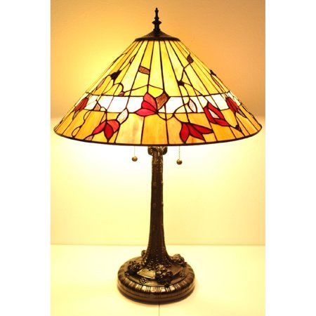 Floral One Light - Serena d'italia Tiffany Style 2 light Floral Mission 23 in. Bronze Table Lamp