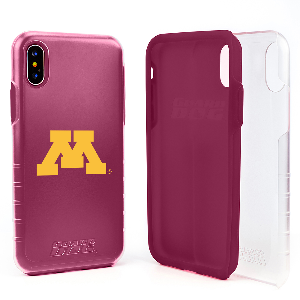 Minnesota Golden Gophers Clear Hybrid Case for iPhone X / Xs with Guard Glass Screen Protector - Clear with Maroon