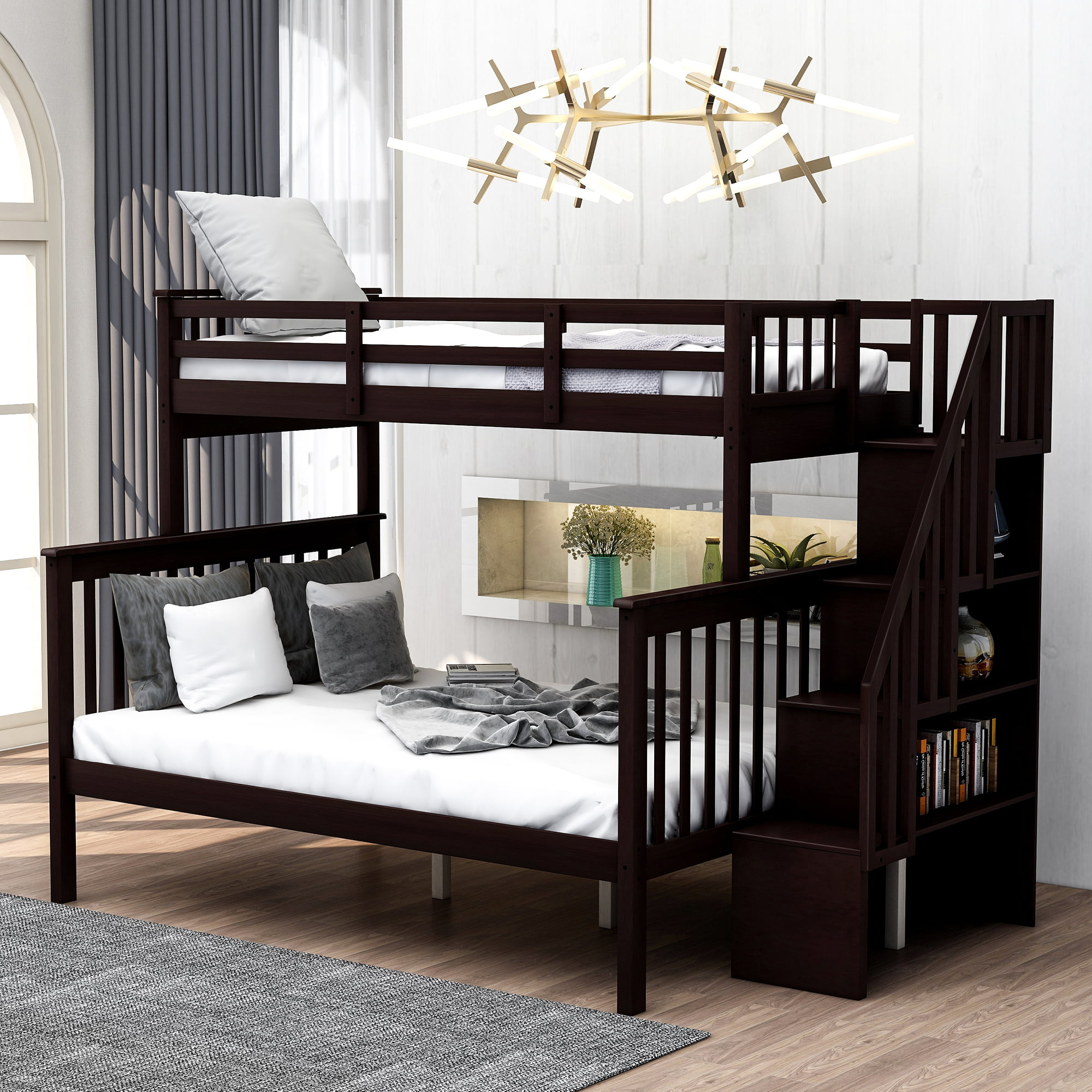 Bunk Bed for Kids, Twin Over Full Bunk Beds with Storage ...