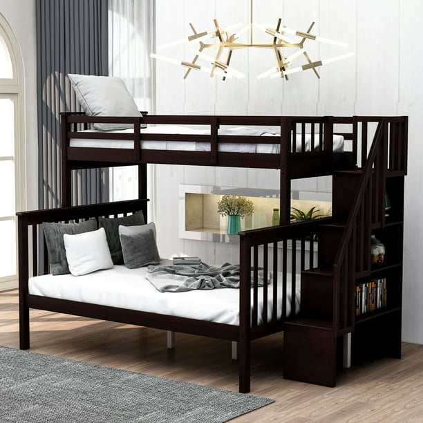 Kids Bunk Beds For Boys Girls Twin, Are Bunk Beds With Stairs Safer