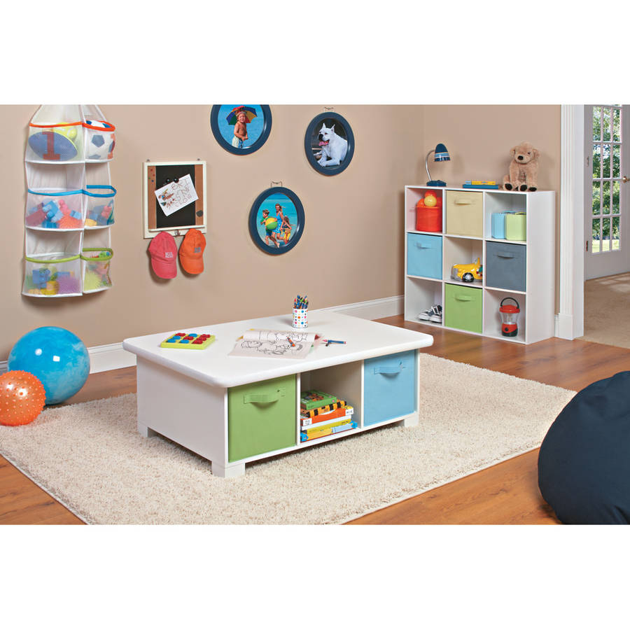 White Coffee Table W Storage Kids Activity Furniture E Saving Playroom