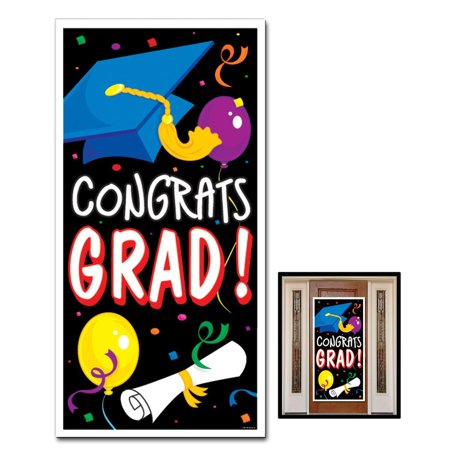 Congrats Grad Door Cover Halloween Decoration - Double Door Halloween