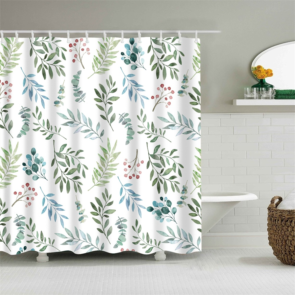 Herb Shower Curtain Set With Hooks Leaves Fresh Spring Herbs Flowers Red  Seed Multicolor Bathroom Decor Waterproof Polyester Fabric Bathroom
