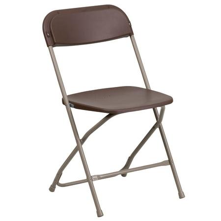 Flash Furniture (1-Pack) HERCULES Series Premium Plastic Folding Chair, Brown