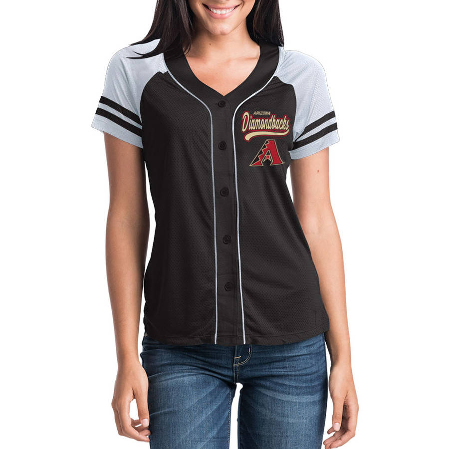 MLB Arizona Diamondbacks Women's Short Sleeve Button Down Mesh Jersey