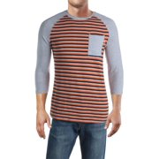 Psycho Bunny Mens Bermuda Baseball Stripe T-Shirt Gray M