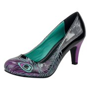Black & Purple Peacock Feather Anti-Pop Heel