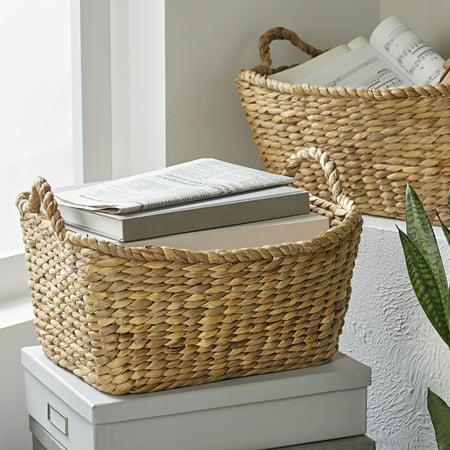 Better Homes & Gardens Rectangular Water Hyacinth Basket, Set of 4