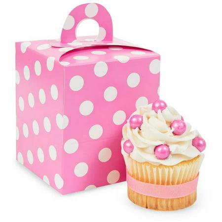 Hot Pink & White Polka Dot Cupcake Boxes, 4pk