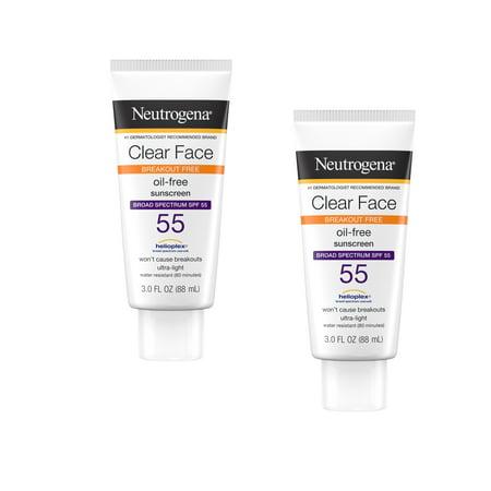 Neutrogena Clear Face Sunscreen Lotion, SPF 55 Oil-Free, 3 fl oz - 2 Pack