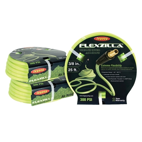 "Legacy Mfg. Co. Flexzilla 3/8"" x 25' Hybrid Air Hose (1/4"" MNPT ends) HFZ3825YW2"