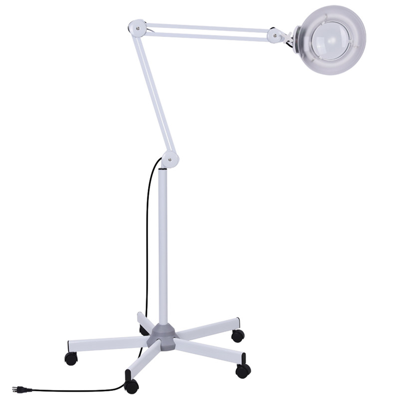 5x Facial Magnifying Lamp LED Glass Adjustable Rolling Floor Stand Magnifier Light Gooseneck Glass Lens Facial Magnifier... by Eb Network Technology