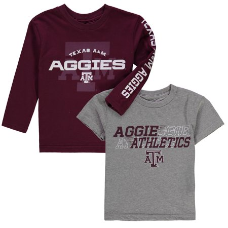 Texas A&M Aggies Preschool United T-Shirt Combo Pack - Heathered Gray/Maroon - 7 (Aggies Ncaa Pack)