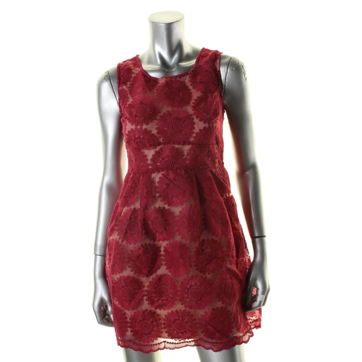 Ruby Rox Womens Juniors Embroidered Sleeveless Casual Dress