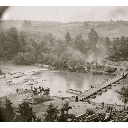 Jericho Mills Virginia Canvas Pontoon Bridge Across The North Anna Constructed By The 50Th New York Engineers Where The 5Th Corps Under Gen Warren Crossed View Looking Down Stream From North Bank Post