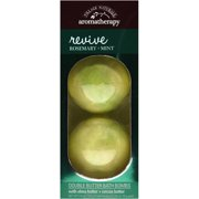 (2 Pack) Village Naturals Aromatherapy Revive Rosemary + Mint Double Butter Bath Bombs, 2 ct, 4.9 oz