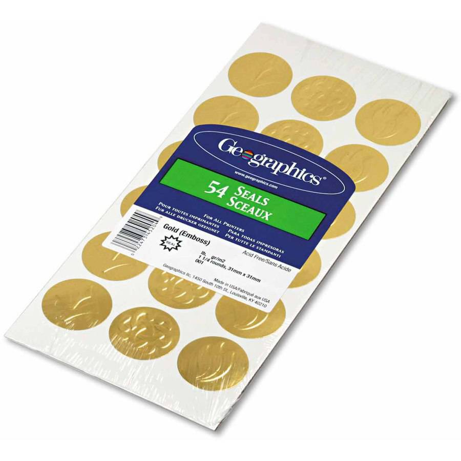 Geographics Self-Adhesive Embossed Seals, Gold, 54/Pack