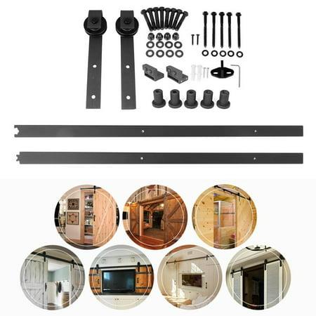 country steel sliding rail barn door hardware black. Black Bedroom Furniture Sets. Home Design Ideas